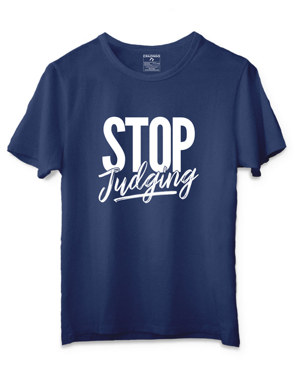 Stop Judging Blue T-Shirts