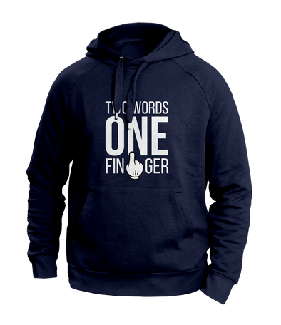 two words one finger navy hoodies