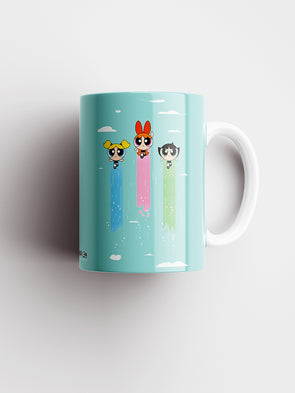 Powerpuff Girls Fly Together Cartoon Official Printed Ceramic Coffee and Tea Mug 325 ml