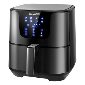 Devanti Air Fryer 7L LCD Fryers Oven Airfryer Kitchen Healthy Cooker Stainless Steel