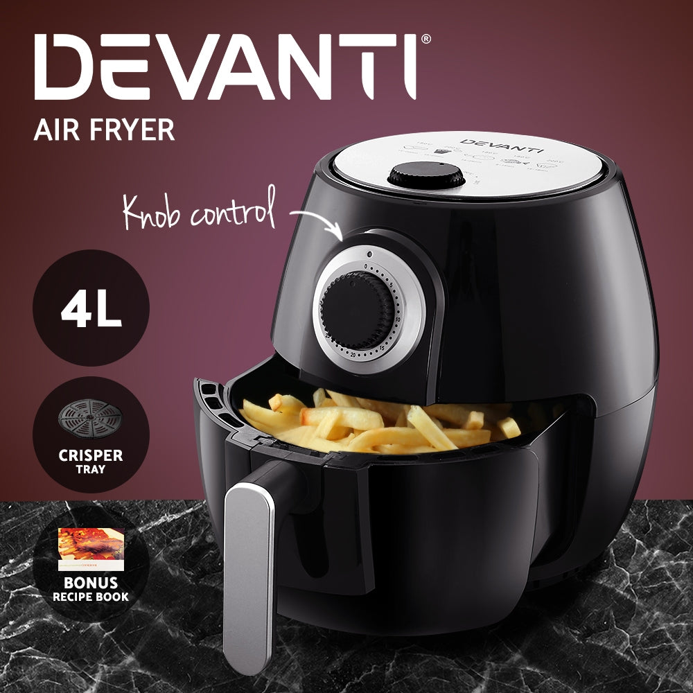 Devanti Air Fryer 4L Fryers Oil Free Oven Airfryer Kitchen Healthy Cooker Black