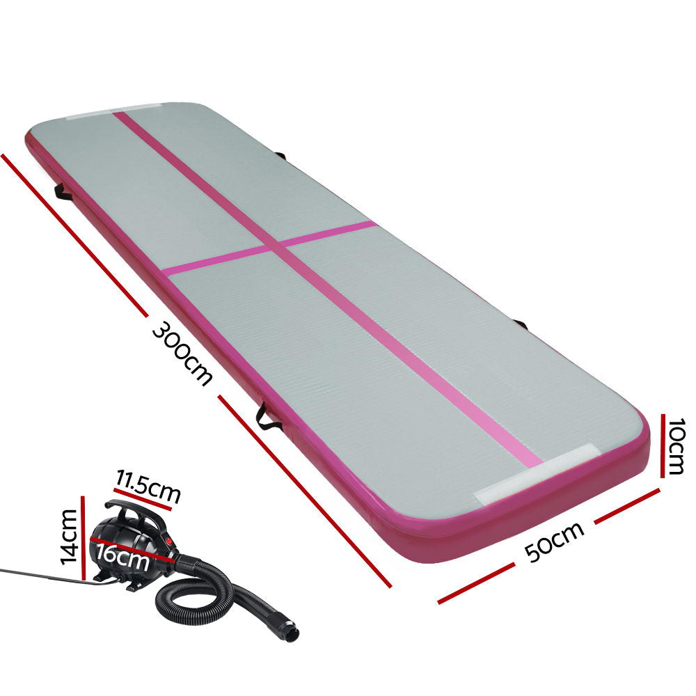 Everfit GoFun 3X1M Inflatable Air Track Mat with Pump Tumbling Gymnastics Pink