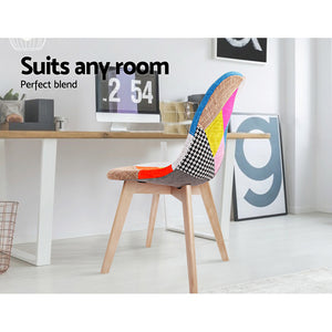 Artiss Set of 2 Retro Beech Fabric Dining Chair - Multi Colour