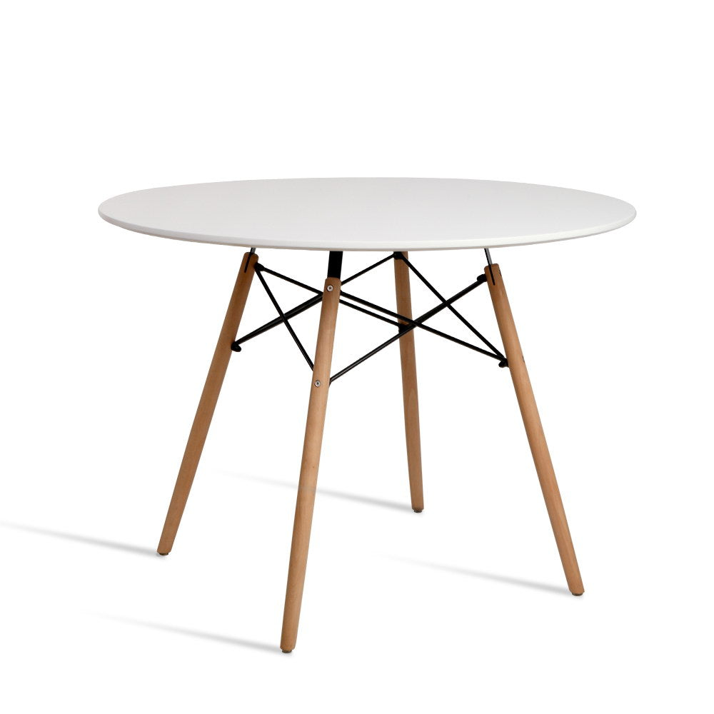 Artiss Dining Table 4 Seater Round Replica DSW Eiffel Kitchen Timber White