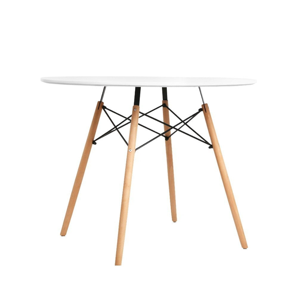 Artiss Dining Table Round 4 Seater Replica Tables Cafe Timber White 90cm