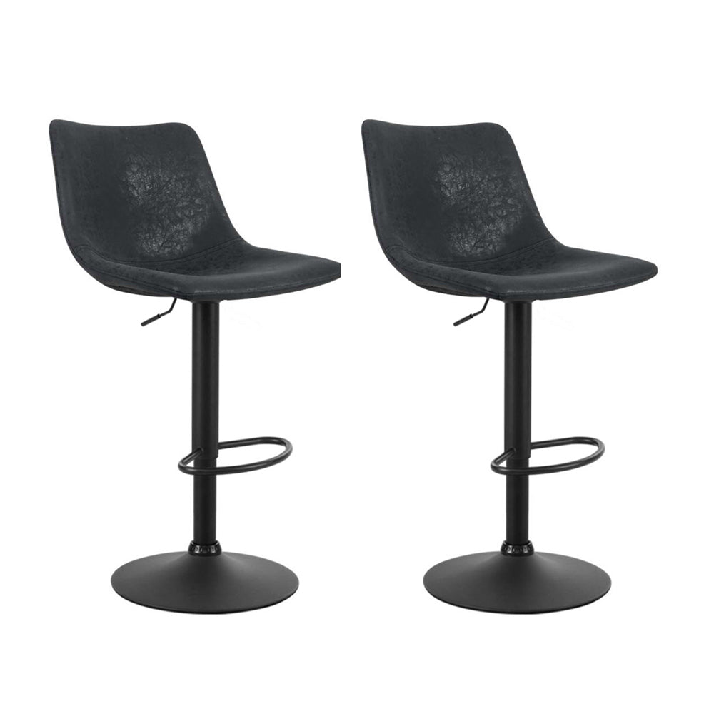 Artiss Set of 2 Bar Stools Gas Lift- Black