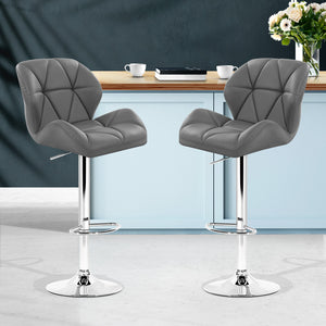 Artiss Set of 2 Kitchen Bar Stools - Grey and Chrome