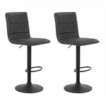 Artiss 2x Kitchen Bar Stools Gas Lift Bar Stool Chairs Swivel Vintage Leather Grey Black Coated Legs