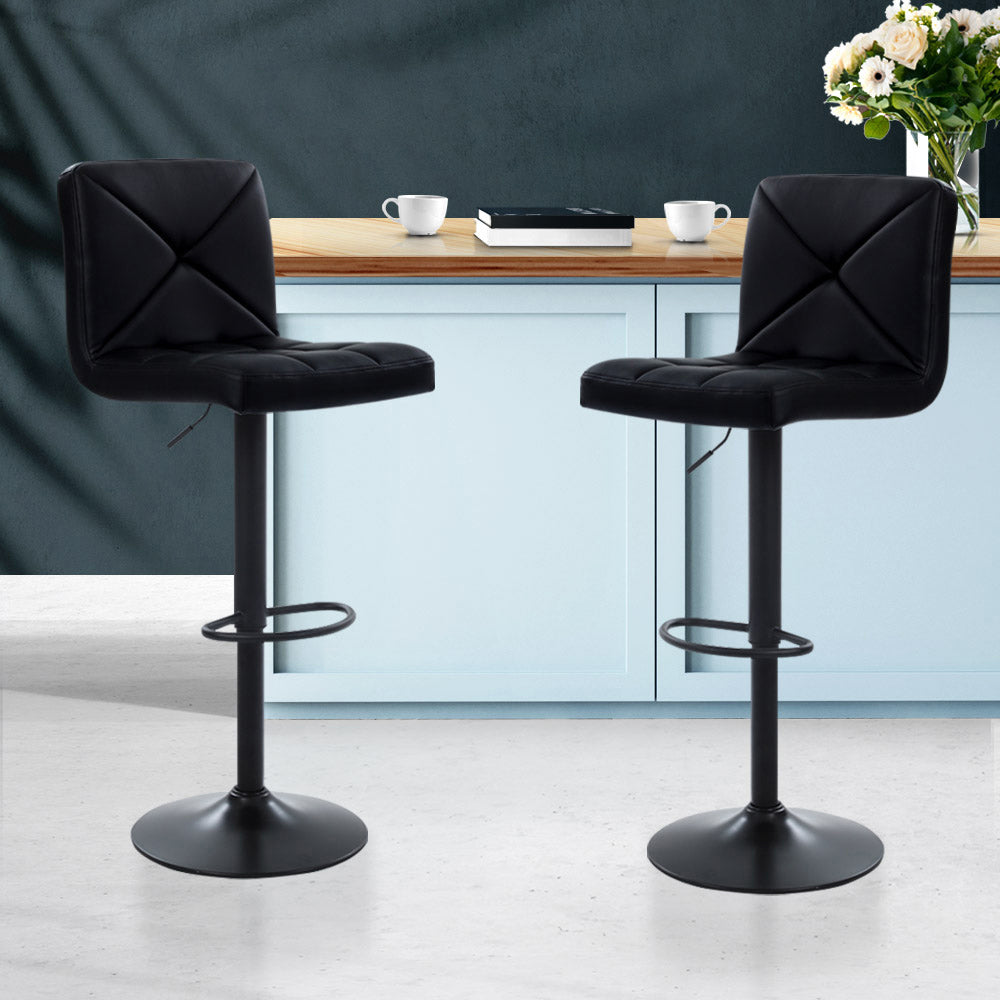 Artiss Set of 2 PU Leather Gas Lift Bar Stools - Black