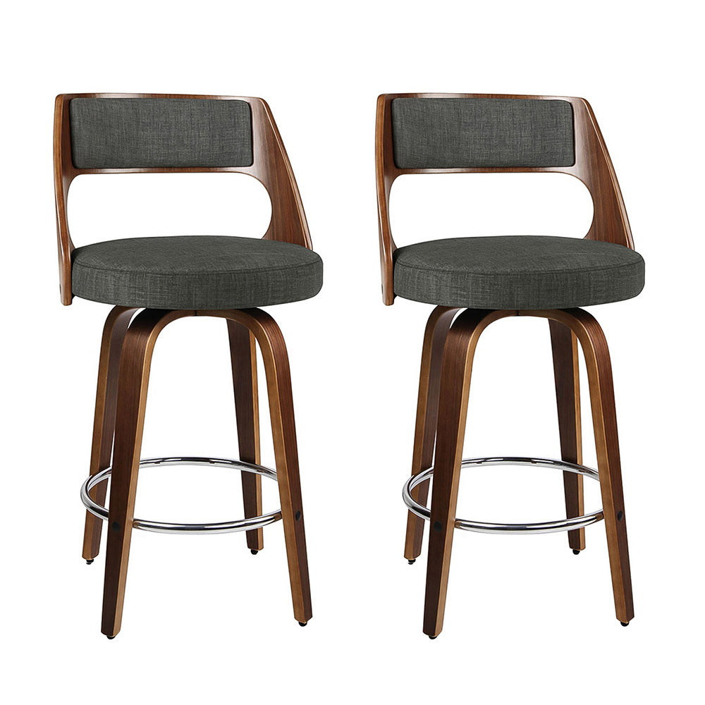 2 x Artiss Wooden Swivel Bar Stools Kitchen Counter Barstool Charcoal Fabric