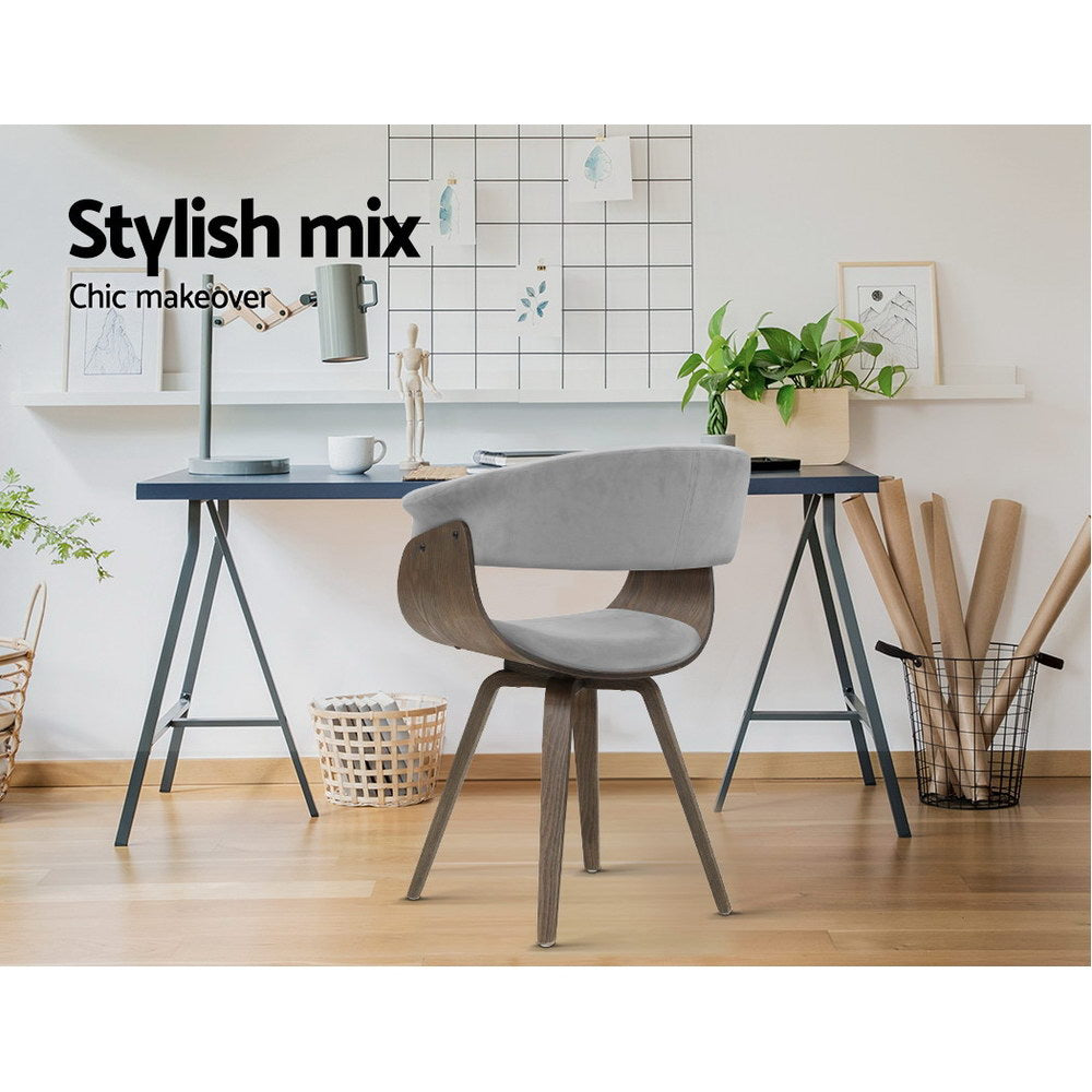 Artiss Dining chairs Bentwood Chair Kitchen Velvet Fabric Timber Wood Retro Grey