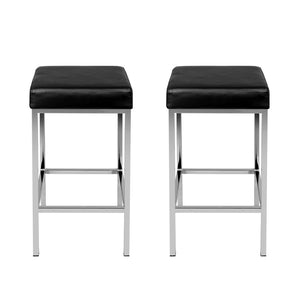 Artiss Set of 2 PU Leather Backless Bar Stools - Black and Chrome