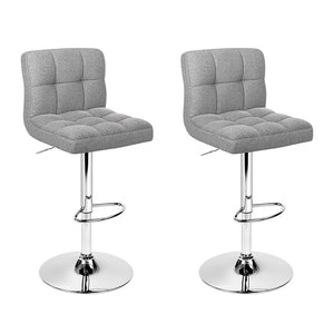 Artiss Set of 2 Fabric Bar Stools - Grey