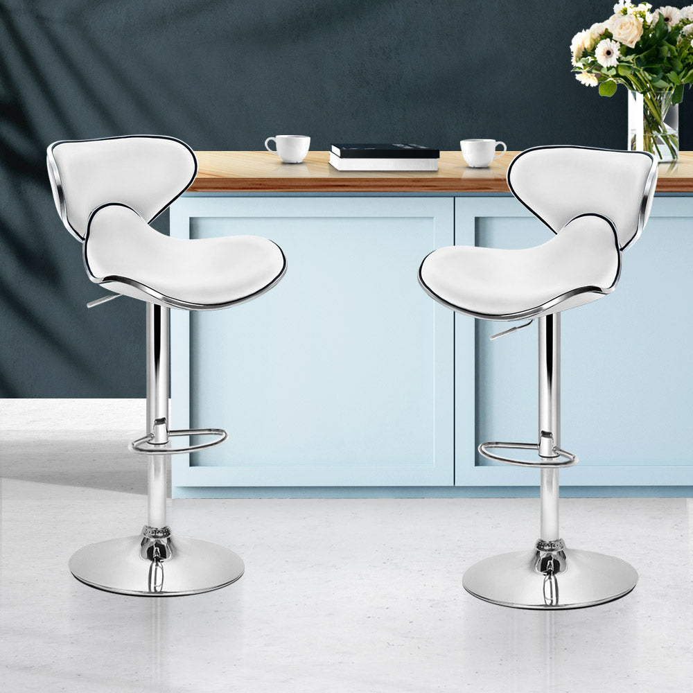 Artiss 2x Bar Stools DINO Kitchen Swivel Bar Stool Leather Gas Lift Chairs White