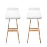 Artiss Set of 2 PU Leather and Wood Bar Stool - White
