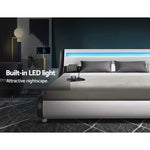 Artiss LED Bed Frame Queen Size Base Mattress Platform Leather Wooden ALEX