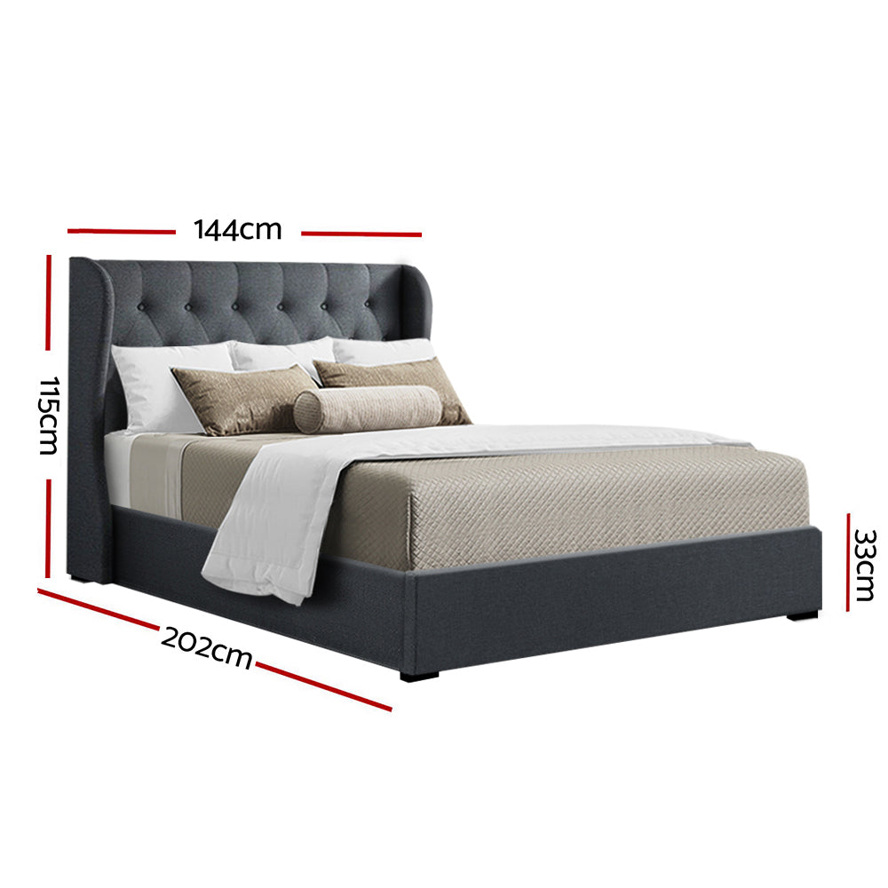 Artiss Double Full Size Gas Lift Bed Frame Base With Storage Mattress Charcoal Fabric Wooden