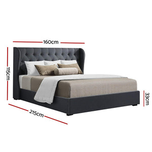 Artiss Queen Size Gas Lift Bed Frame - Charcoal