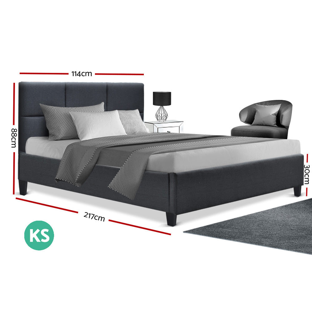 Artiss TINO King Single Size Bed Frame Base Fabric Headboard Wooden Mattress