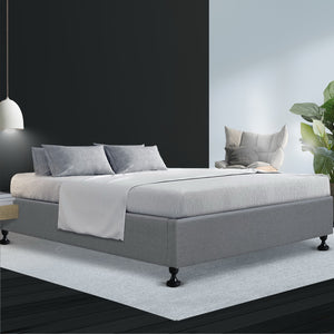 Artiss King Size Bed Base Frame Mattress Platform Fabric Wooden Grey TOMI