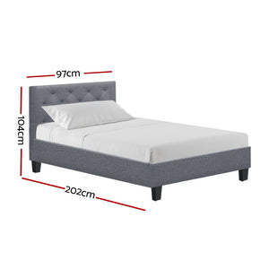 Artiss Single Size Bed Frame Base Mattress Platform Fabric Wooden Grey VAN