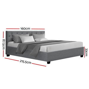 Artiss Queen Size Gas Lift Bed Frame Base Mattress Platform Fabric Wooden Grey WARE
