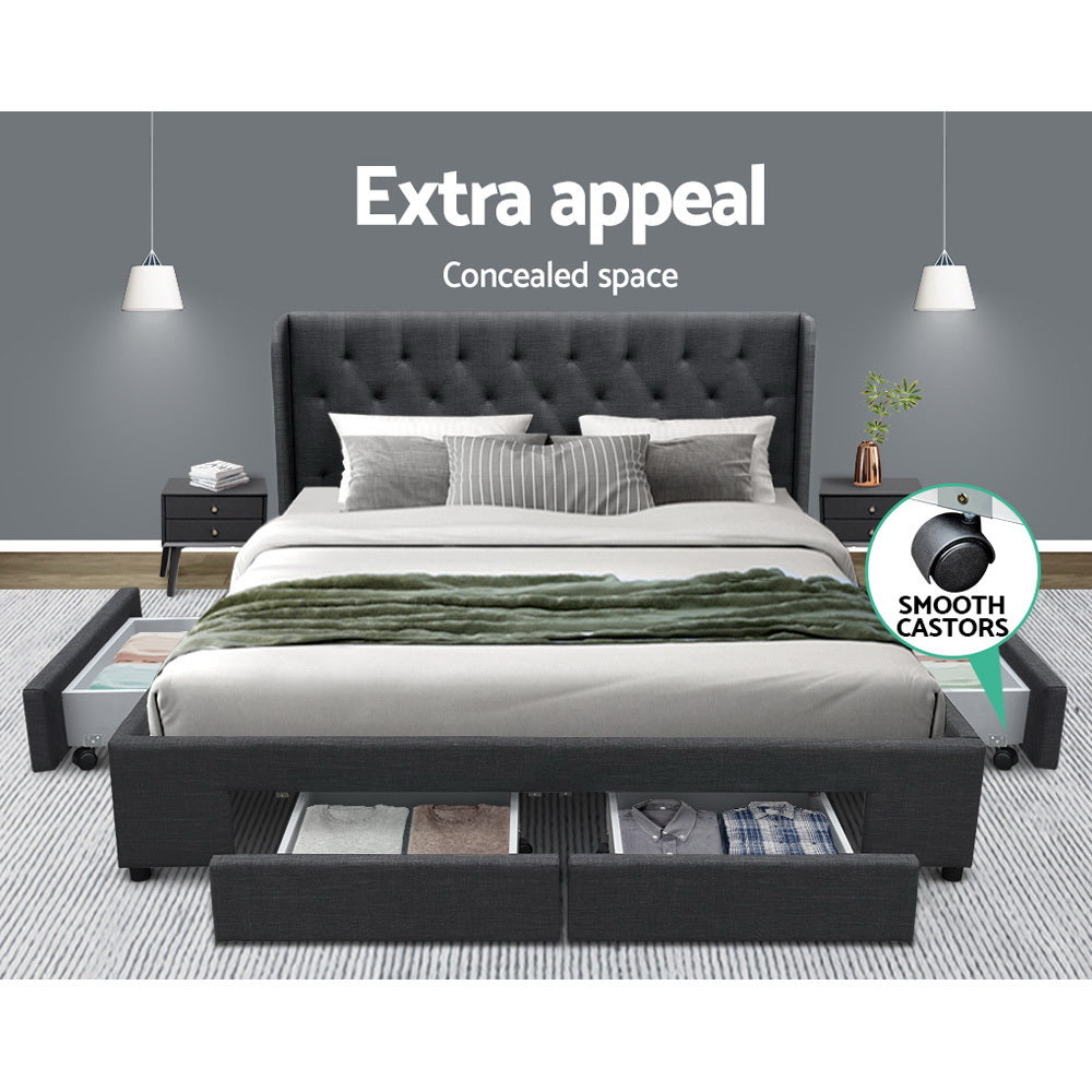 Artiss King Size Bed Frame Base Mattress With Storage Drawer Charcoal Fabric MILA