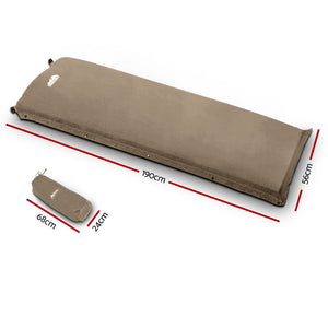 Weisshorn Single Size Self Inflating Matress Mat Joinable 10CM Thick  Coffee
