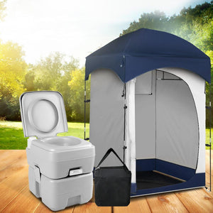 WEISSHORN 20L Outdoor Portable Toilet Camping Shower Tent Pop Up Change Room BL