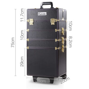 Embellir 7 in 1 Portable Cosmetic Beauty Makeup Trolley - Black & Gold