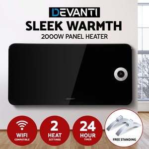 Devanti Electric Convection Metal Panel Heater Heat Portable Wall Mount WiFi Control Black