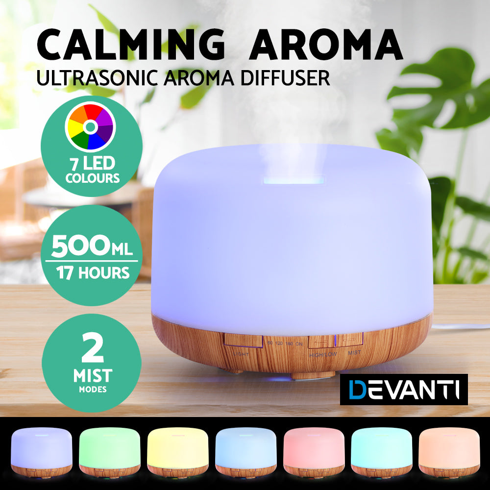 DEVANTI Aroma Diffuser Aromatherapy LED Night Light Air Humidifier Purifier Light Wood Grain 500ml