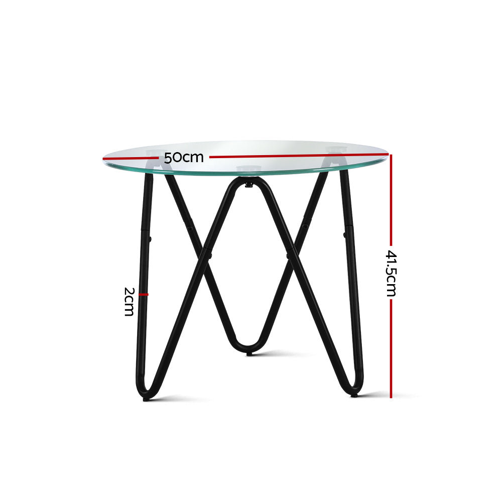 Artiss Coffee Table Glass End Side Tables High Gloss Display Modern Furniture 50X50CM