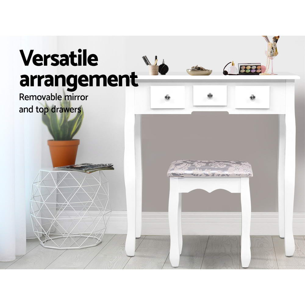 Artiss Dressing Table Stool Set Mirror Drawers Makeup Cabinet Storage Desk White