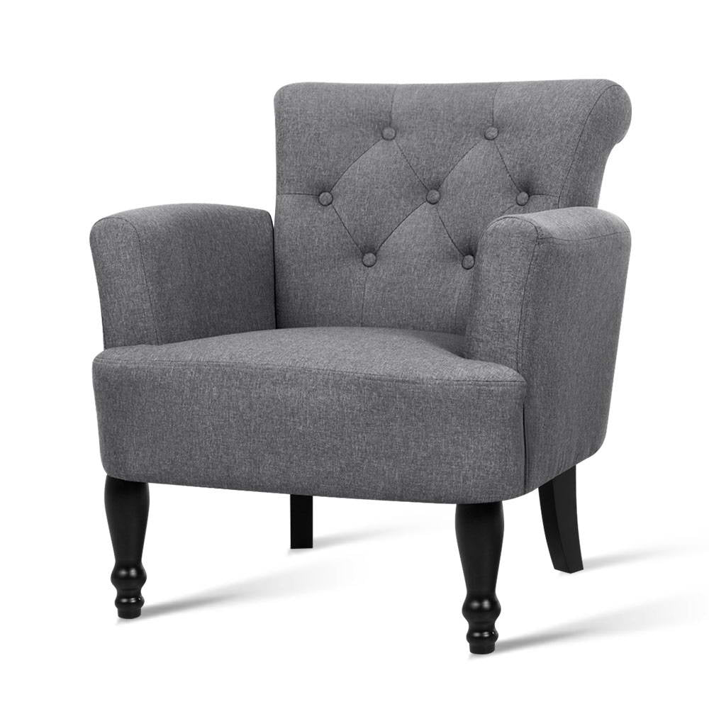 Artiss French Lorraine Chair Retro Wing - Grey