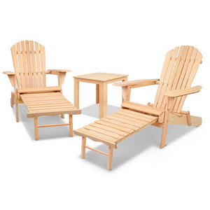 Gardeon 3 Piece Outdoor Beach Chair and Table Set