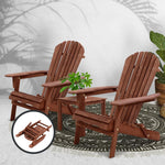 Gardeon 3PC Outdoor Setting Beach Chairs Table Wooden Adirondack Lounge Garden