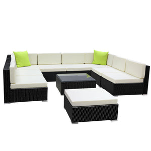 Gardeon 10PC Sofa Set with Storage Cover Outdoor Furniture Wicker