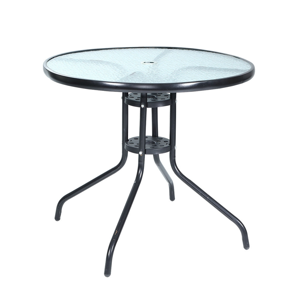 Gardeon Outdoor Dining Table Bar Setting Steel Glass 70CM