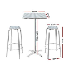 Gardeon Outdoor Bistro Set Bar Table Stools Adjustable Aluminium Cafe 3PC Square