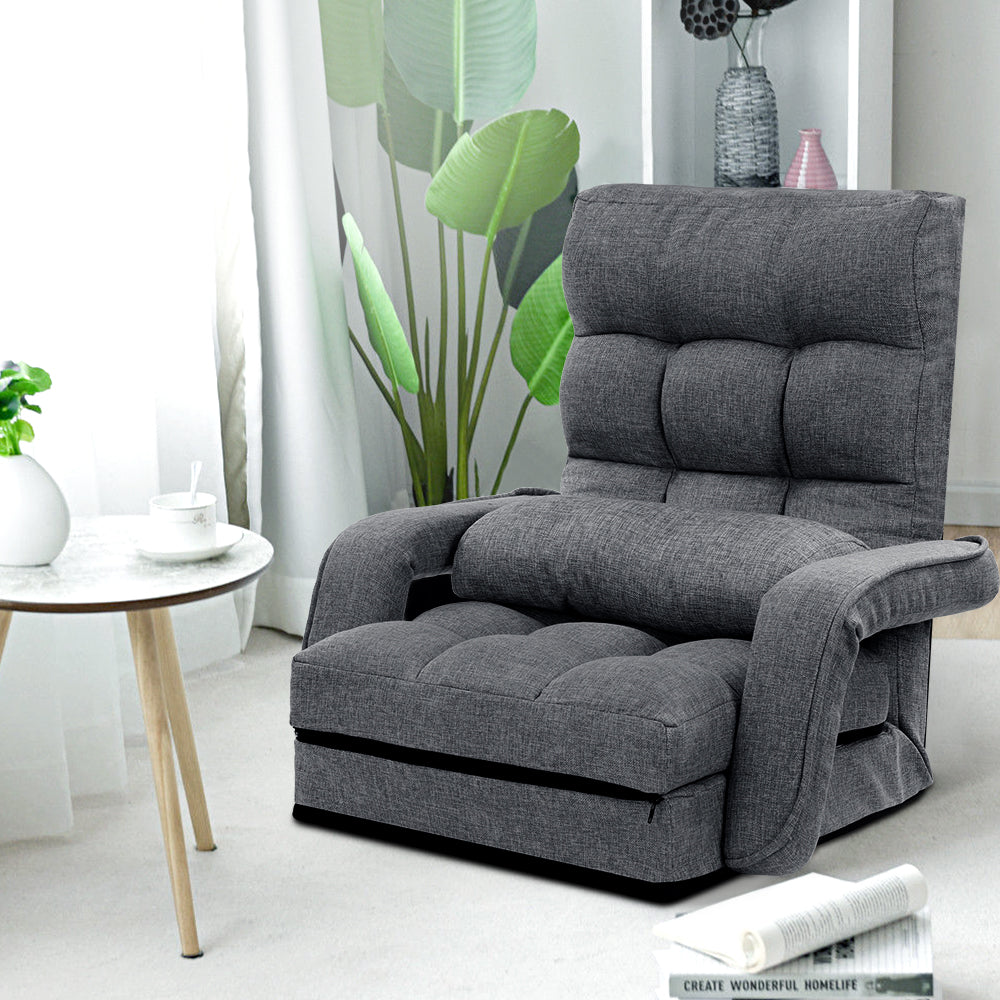 Artiss Lounge Sofa Armchair Floor Recliner Chaise Linen Folding Chair Adjustable