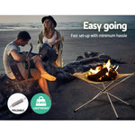 Grillz Portable Fire Pit BBQ Outdoor Camping Wood Burner Fireplace Heater Pits