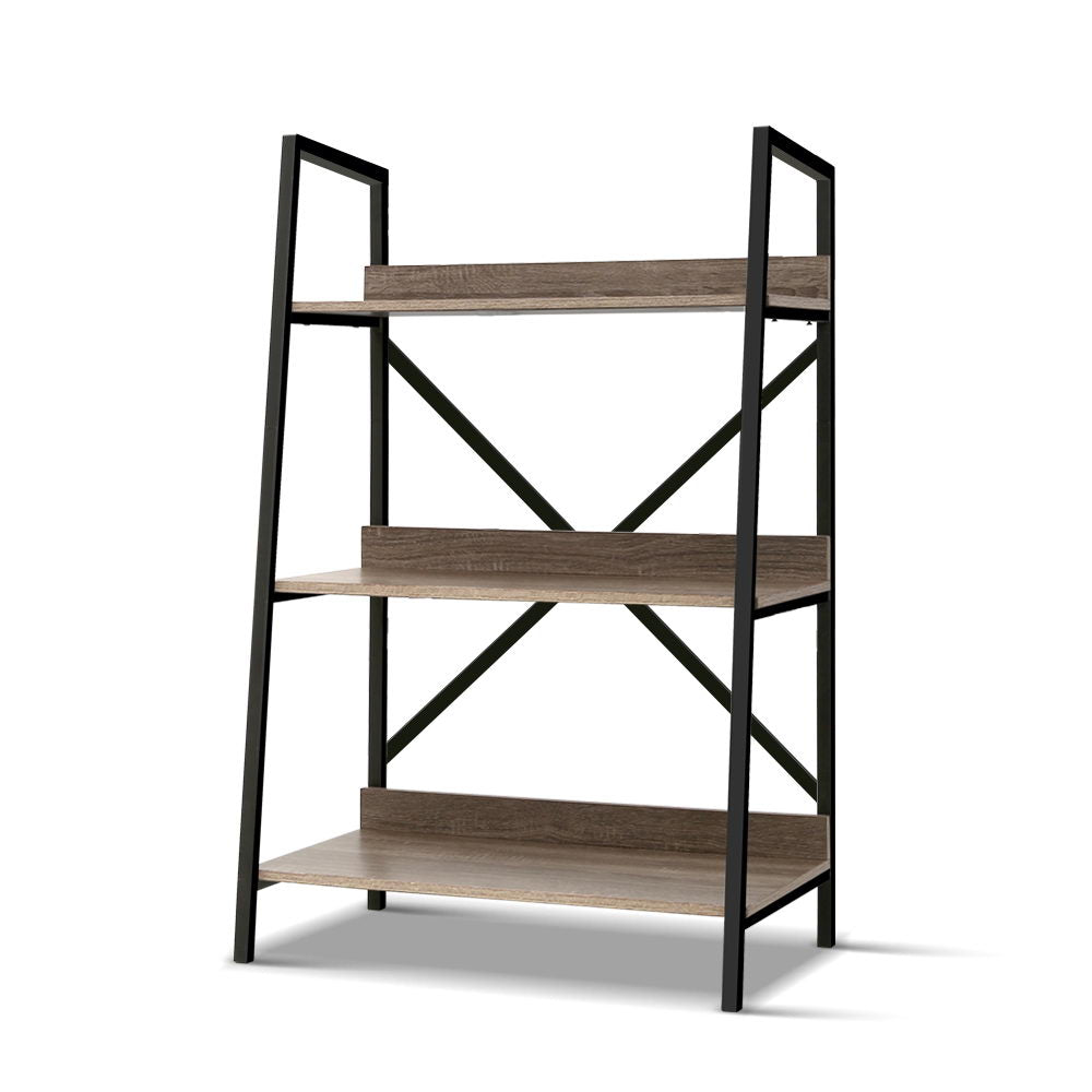 Artiss Bookshelf 3Tier Metal Bookcase Bookshelves Oak Book Shelf Display Storage