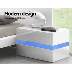 Artiss Bedside Table 2 Drawers RGB LED Side Nightstand High Gloss Cabinet White