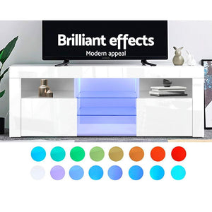 Artiss TV Cabinet Entertainment Unit Stand RGB LED Gloss Furniture 145cm White