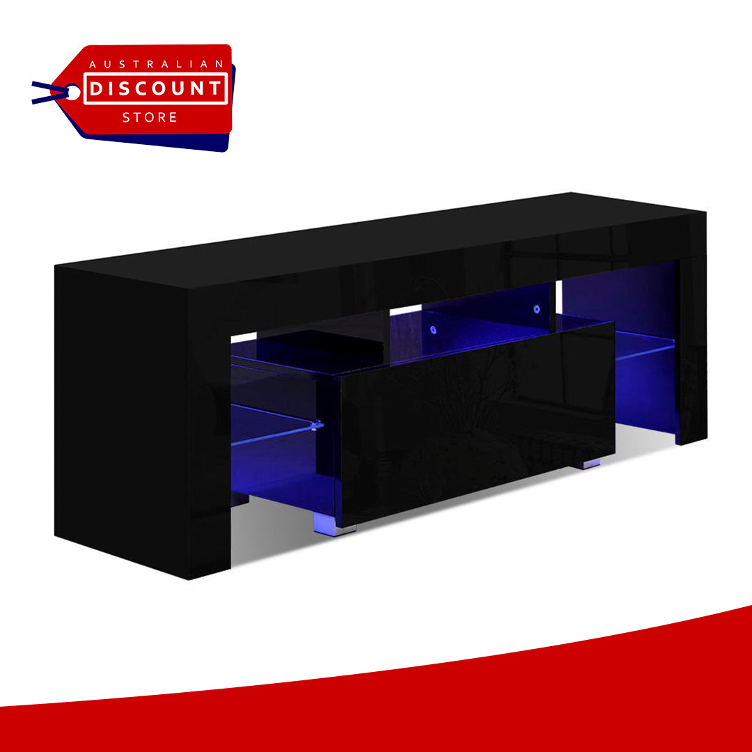Artiss TV Cabinet Entertainment Unit Stand RGB LED Gloss Furniture 130cm Black