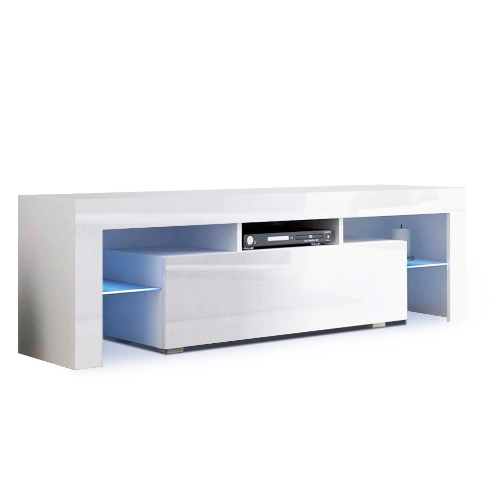 Artiss 130cm RGB LED TV Stand Cabinet Entertainment Unit Gloss Furniture Drawer Tempered Glass Shelf White