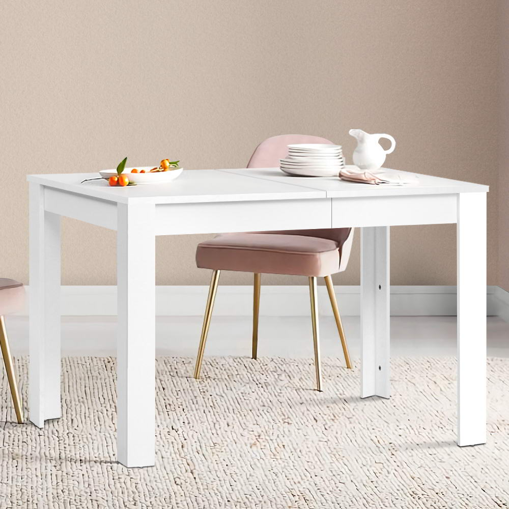 Artiss Dining Table 4 Seater Wooden Kitchen Tables White 120cm Cafe Restaurant