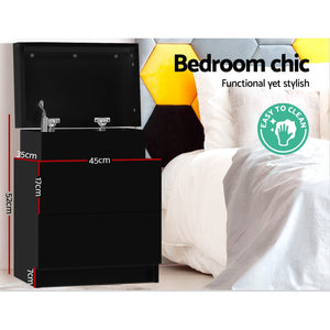Artiss Bedside Tables 2 Drawers Side Table Storage Nightstand Black Bedroom Wood
