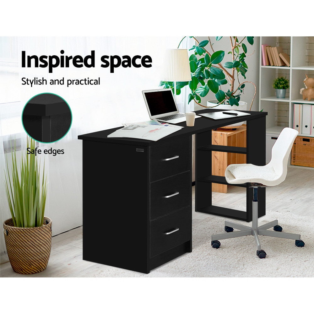 Artiss Office Computer Desk Student Study Table Workstation 3 Drawers 120cm Black